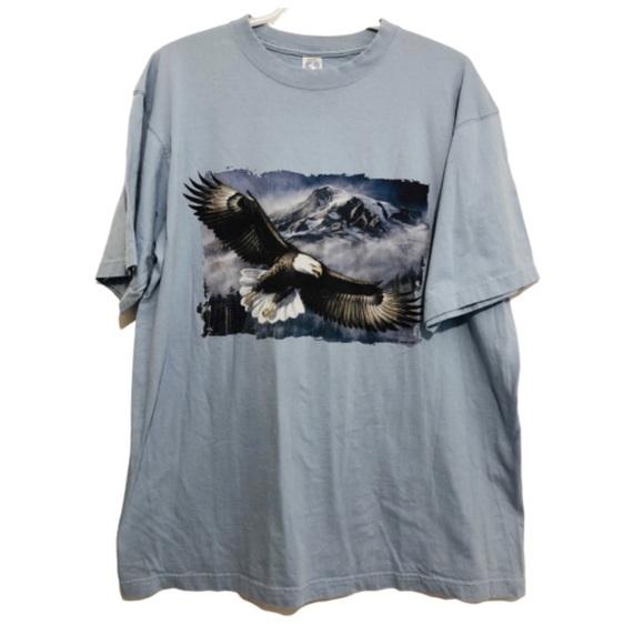Vtg 93' Eagle Tshirt James Meger Art Light Blue L